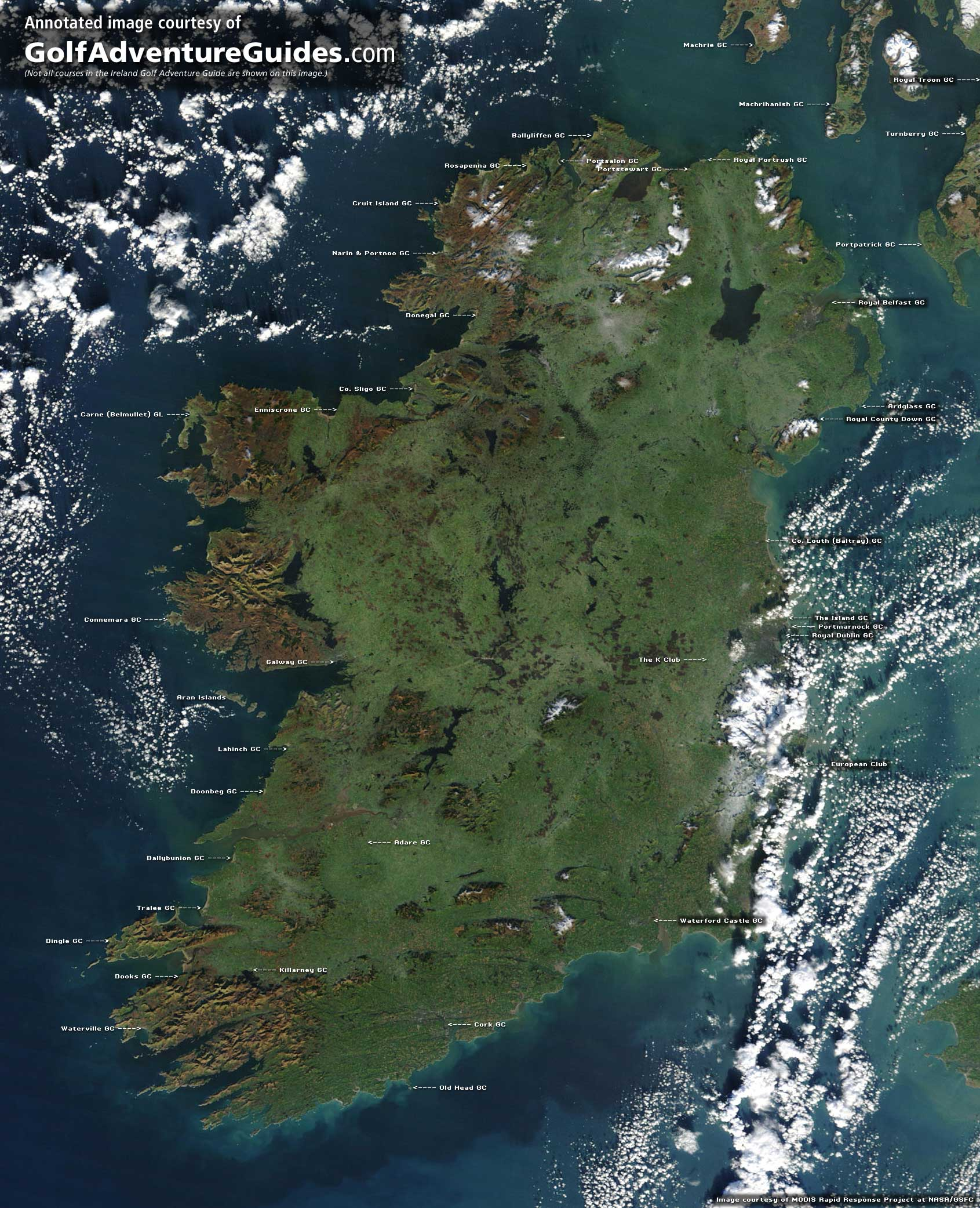Satellite image of Ireland, annotated with golf course locations.